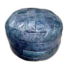 De Sede Blue Leather Patchwork Ottoman