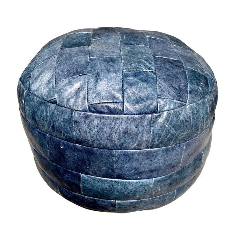 De Sede Blue Leather Patchwork Ottoman For Sale
