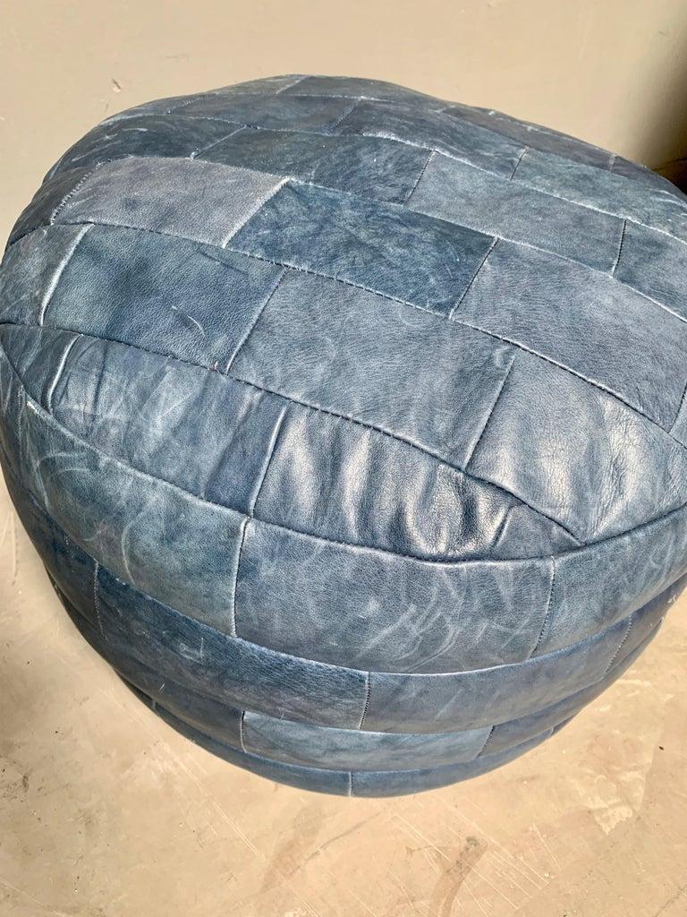 Swiss De Sede Blue Leather Patchwork Ottoman For Sale