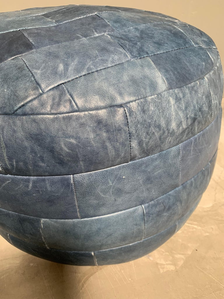 De Sede Blue Leather Patchwork Ottoman In Good Condition For Sale In Los Angeles, CA
