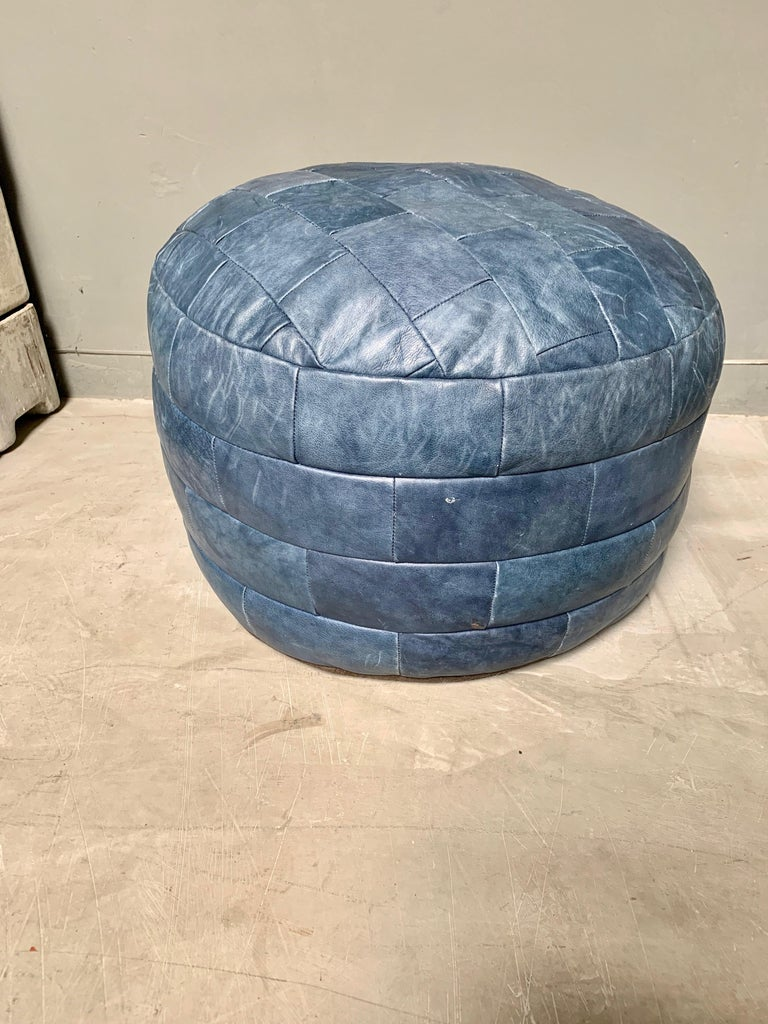 Late 20th Century De Sede Blue Leather Patchwork Ottoman For Sale