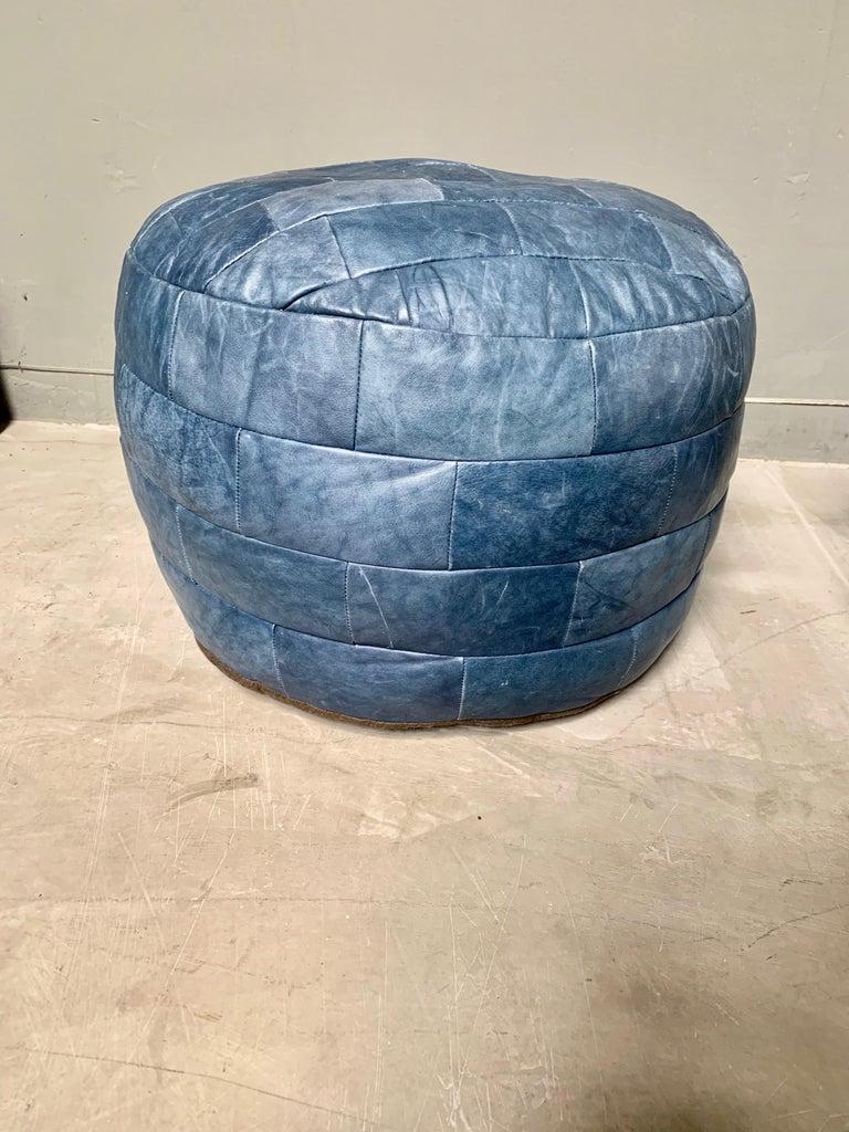 De Sede Blue Leather Patchwork Ottoman For Sale 1