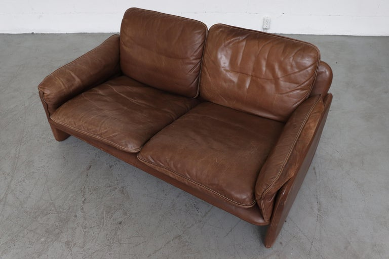 De Sede Brown DS 61 Leather Loveseat Sofa For Sale 4