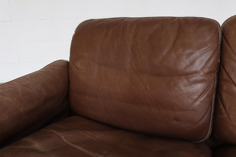 De Sede Brown DS 61 Leather Loveseat Sofa For Sale 5