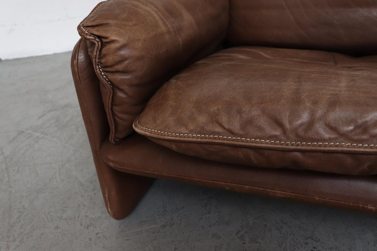 De Sede Brown DS 61 Leather Loveseat Sofa For Sale 6
