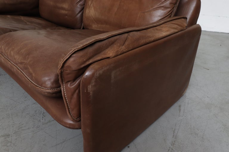De Sede Brown DS 61 Leather Loveseat Sofa For Sale 7