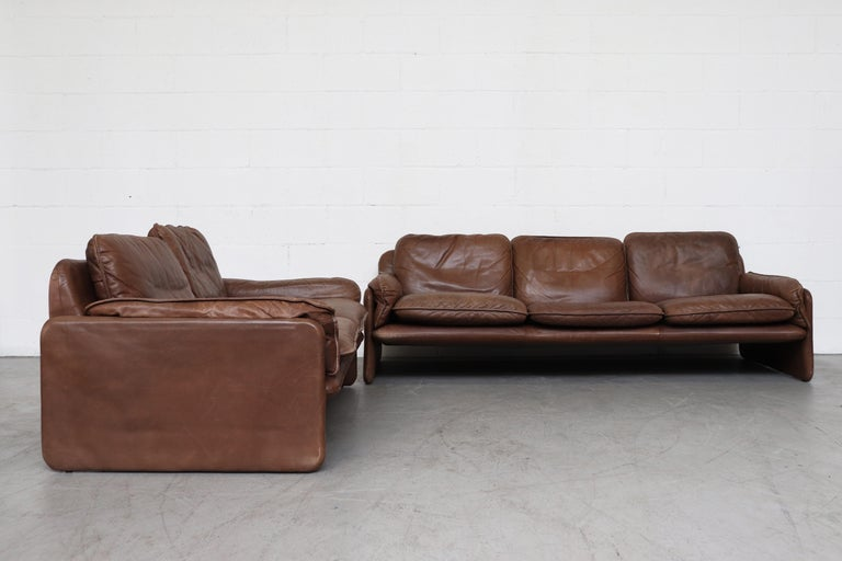 Mid-Century Modern De Sede Brown DS 61 Leather Loveseat Sofa For Sale