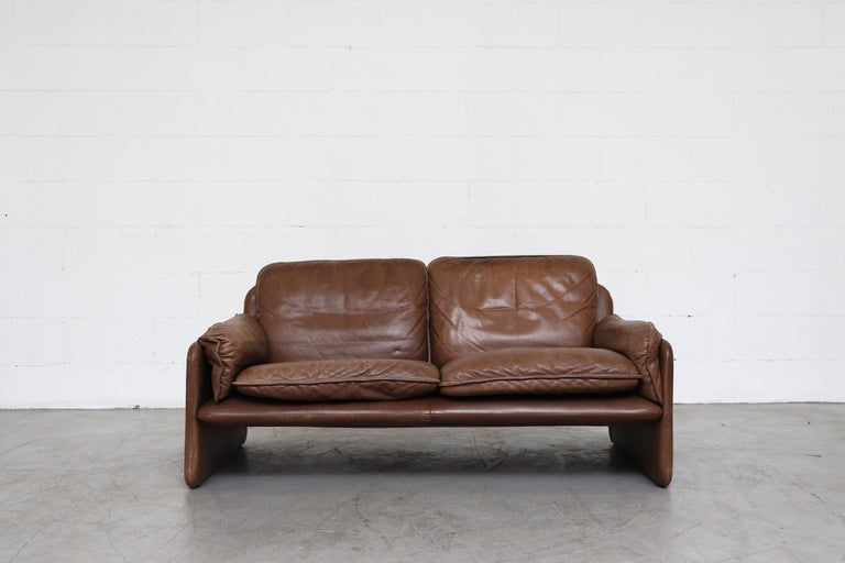 Swiss De Sede Brown DS 61 Leather Loveseat Sofa For Sale