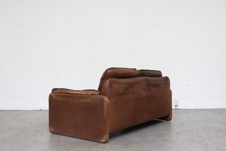Late 20th Century De Sede Brown DS 61 Leather Loveseat Sofa For Sale