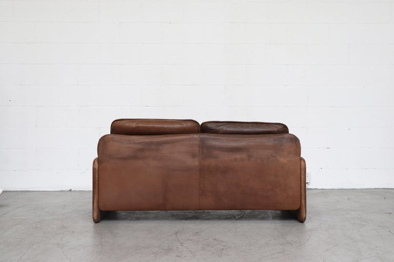 De Sede Brown DS 61 Leather Loveseat Sofa For Sale 1