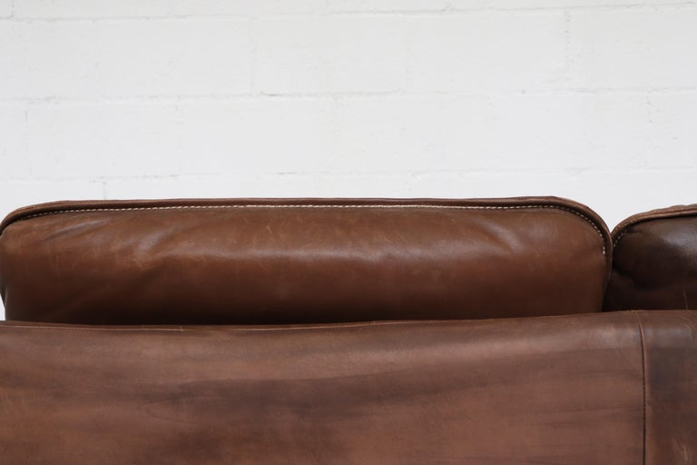 De Sede Brown DS 61 Leather Loveseat Sofa For Sale 2