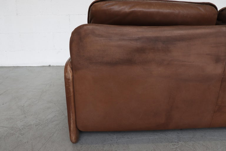De Sede Brown DS 61 Leather Loveseat Sofa For Sale 3