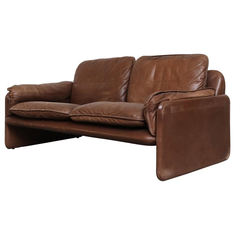 De Sede Brown DS 61 Leather Loveseat Sofa For Sale