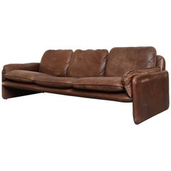 De Sede Brown Leather DS61 Three-Seat Sofa