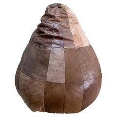 De Sede Brown Leather Patchwork Bean Bag, Pouf, 1970s, Switzerland