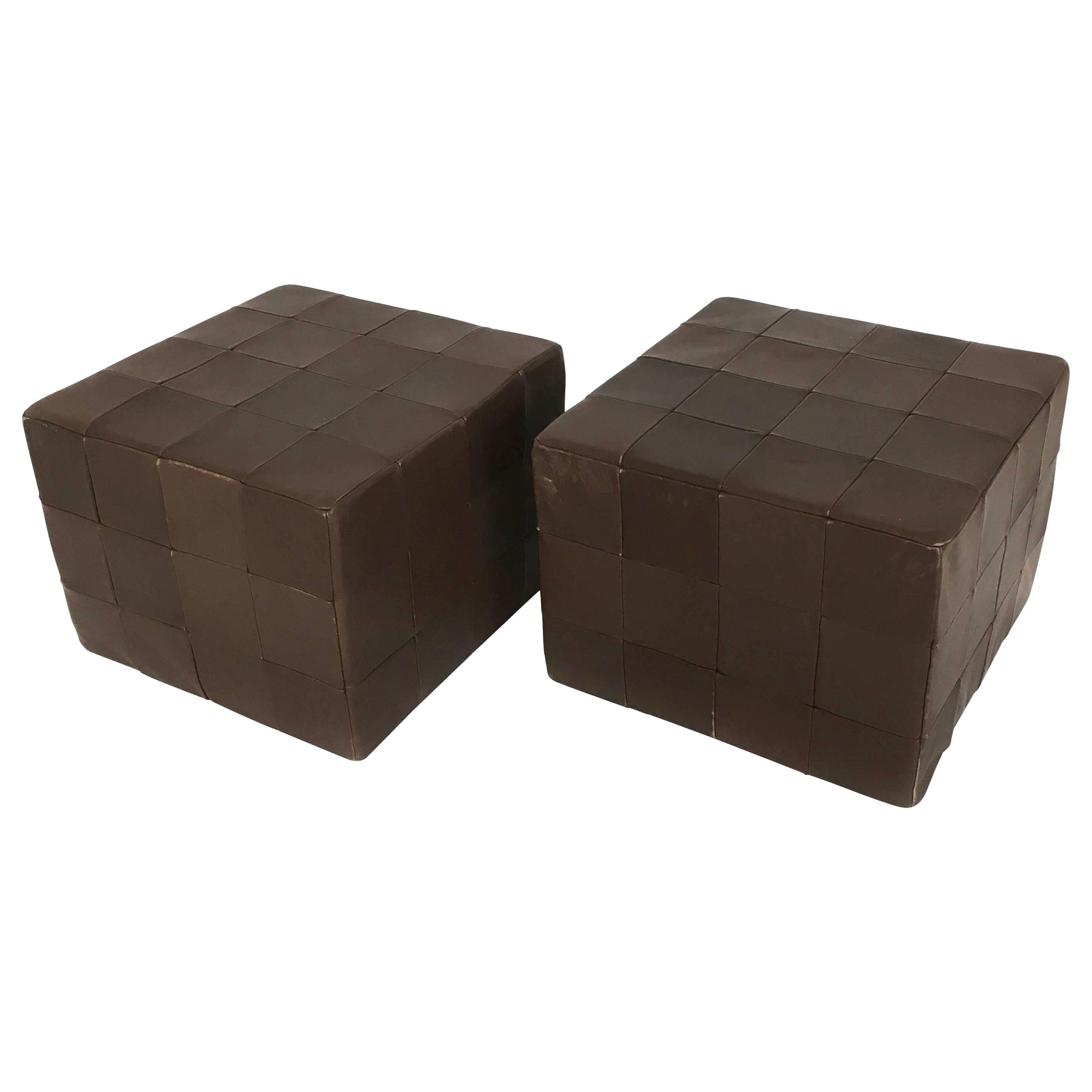 De Sede Brown Leather Patchwork Cubes Ottomans, Switzerland 1970s