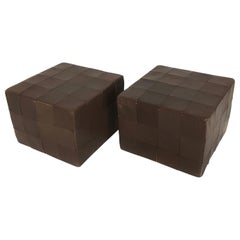 De Sede Brown Leather Patchwork Cube Ottoman, Switzerland, 1970s