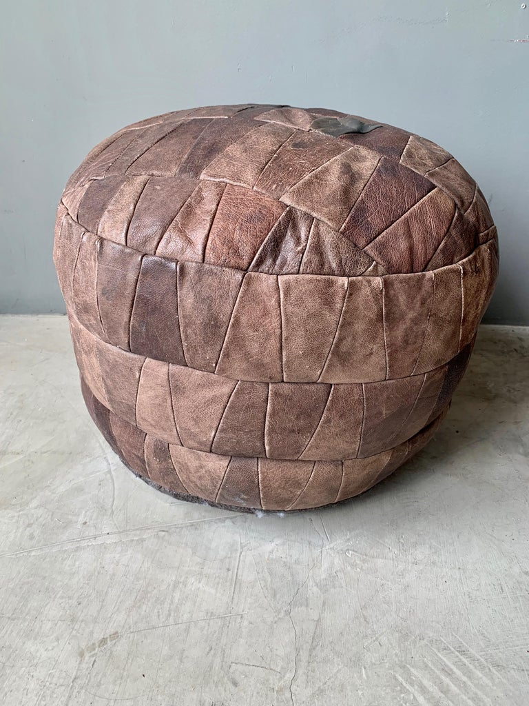 Swiss De Sede Brown Leather Patchwork Ottoman For Sale