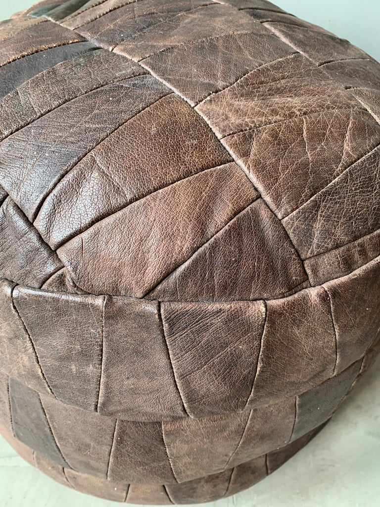De Sede Brown Leather Patchwork Ottoman In Good Condition For Sale In Los Angeles, CA