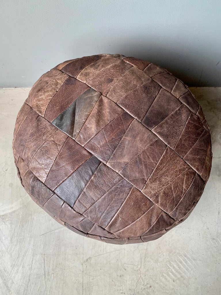 Late 20th Century De Sede Brown Leather Patchwork Ottoman For Sale