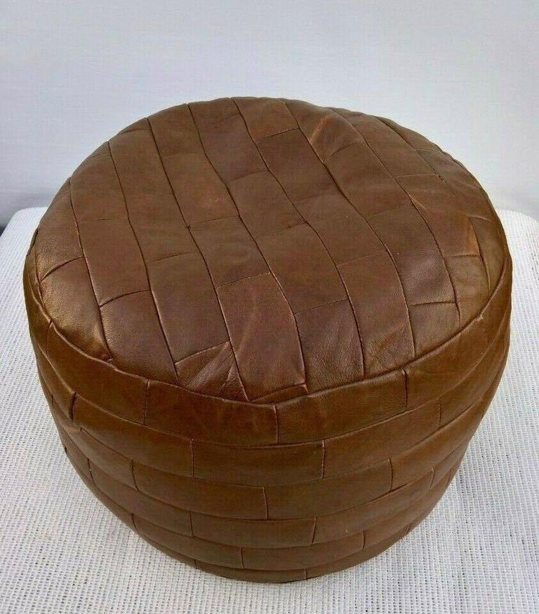 Swiss De Sede Brown Patchwork Leather Ottoman For Sale