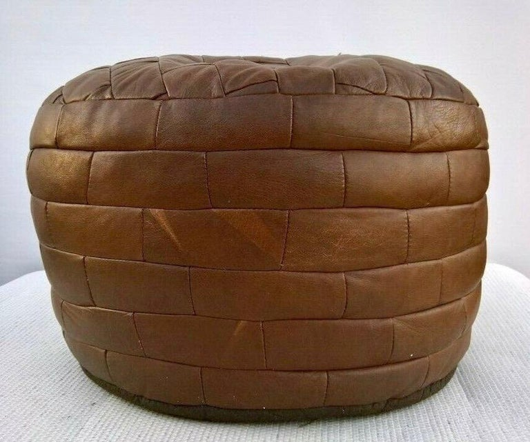 De Sede Brown Patchwork Leather Ottoman In Good Condition For Sale In Los Angeles, CA