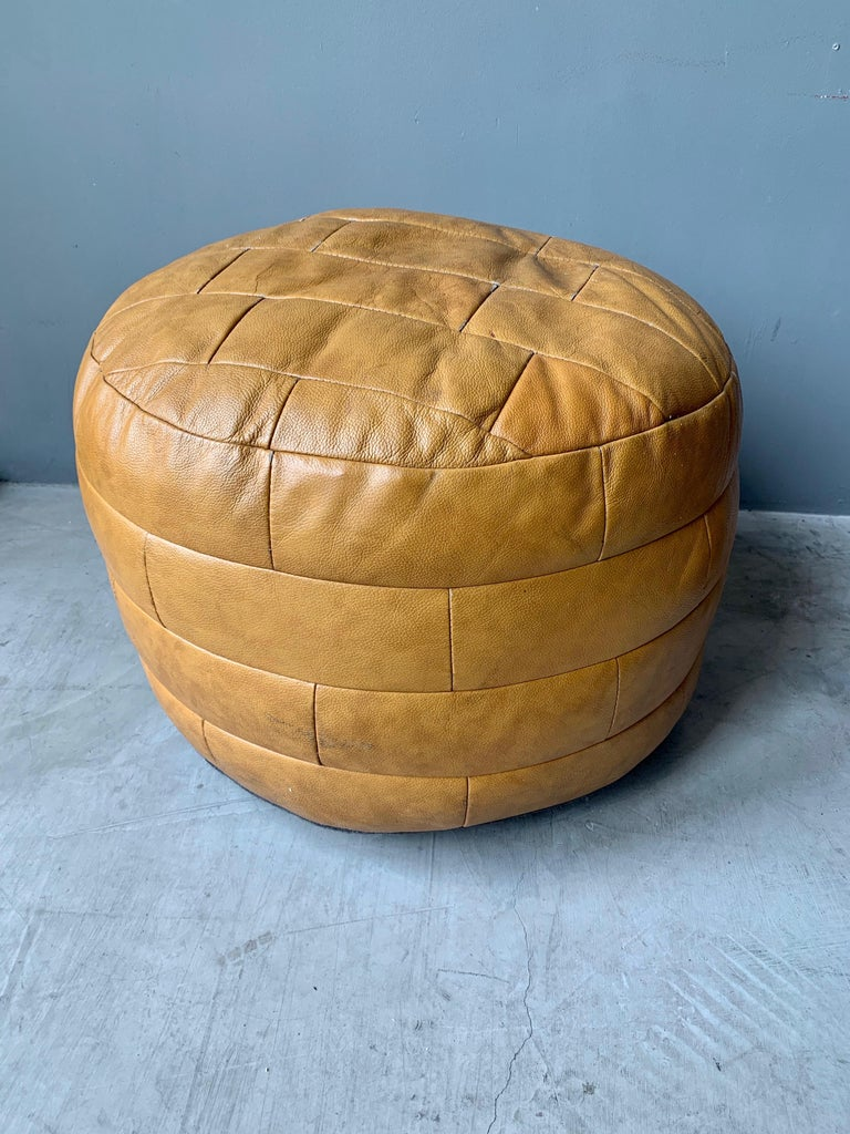 Late 20th Century De Sede Camel Leather Patchwork Ottoman For Sale