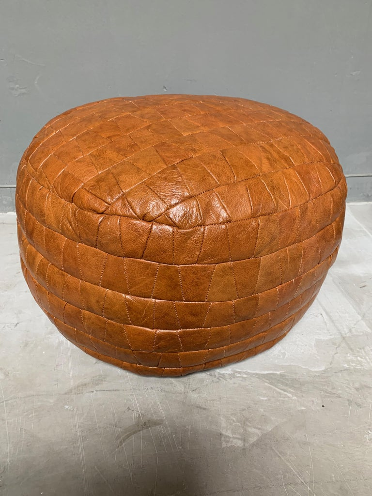 Late 20th Century De Sede Camel Leather Patchwork Ottomans For Sale