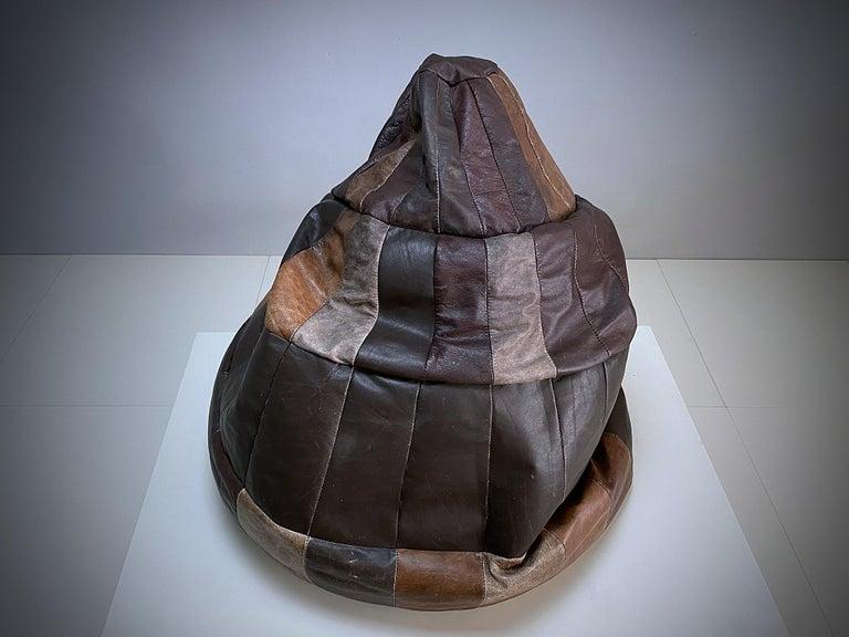 Mid-Century Modern De Sede Chocolate Brown Leather Patchwork Bean Bag, Pouf, 1970s, Switzerland
