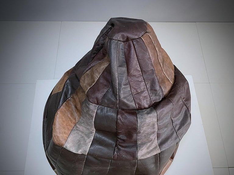 Swiss De Sede Chocolate Brown Leather Patchwork Bean Bag, Pouf, 1970s, Switzerland