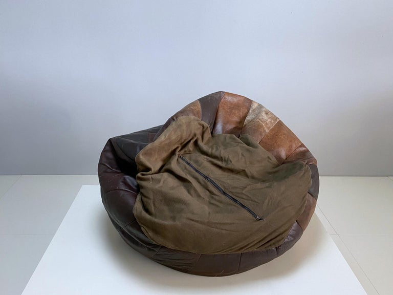 Late 20th Century De Sede Chocolate Brown Leather Patchwork Bean Bag, Pouf, 1970s, Switzerland