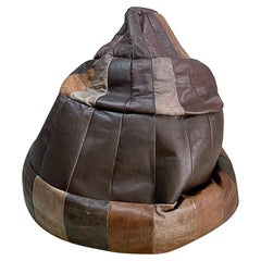 De Sede Chocolate Brown Leather Patchwork Bean Bag, Pouf, 1970s, Switzerland