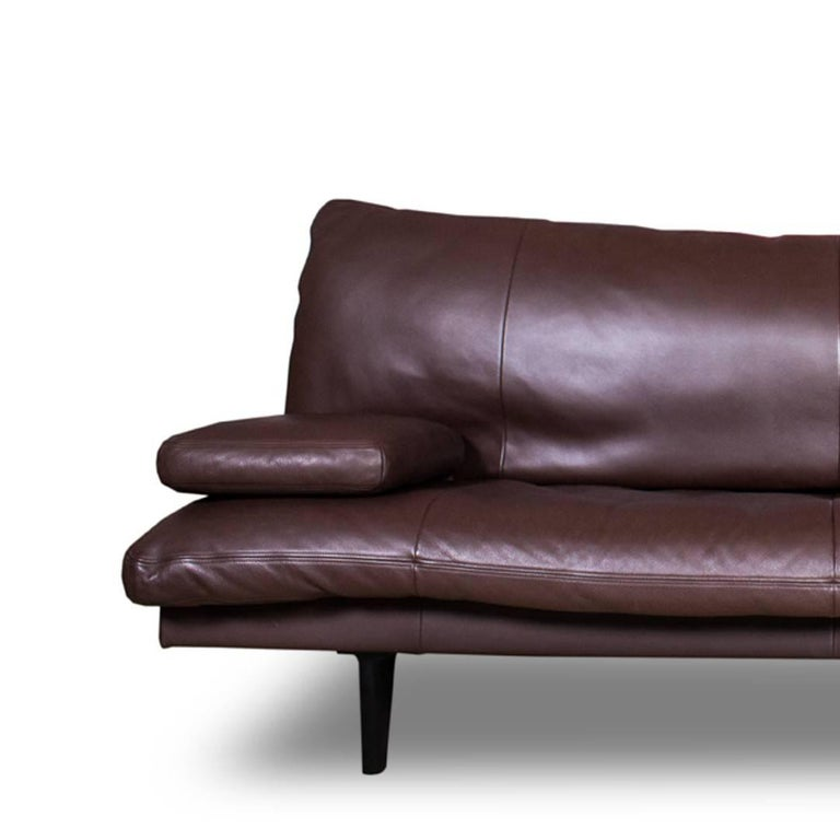 Minimalist De Sede Chocolate Brown Leather Sofa or Daybed, Model DS 169 For Sale