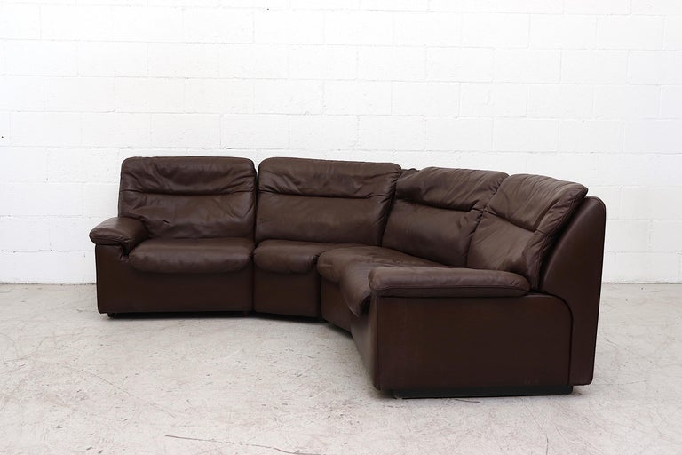 De Sede Chocolate Leather Sectional Sofa