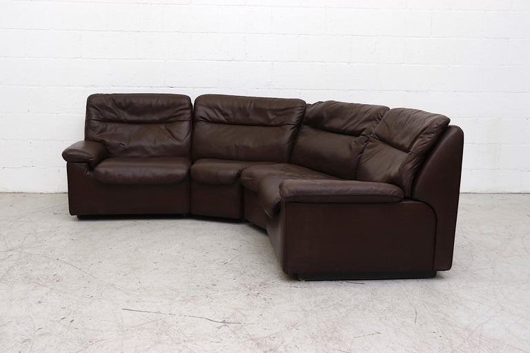 Mid-Century Modern De Sede Chocolate Leather Sectional Sofa For Sale