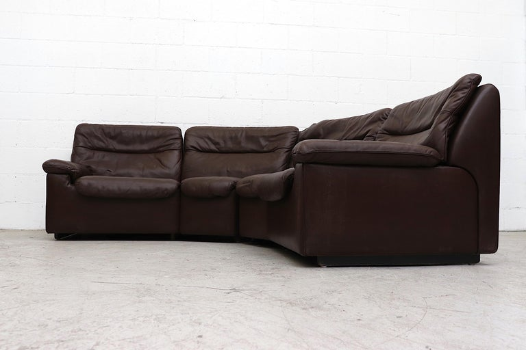 Swiss De Sede Chocolate Leather Sectional Sofa For Sale