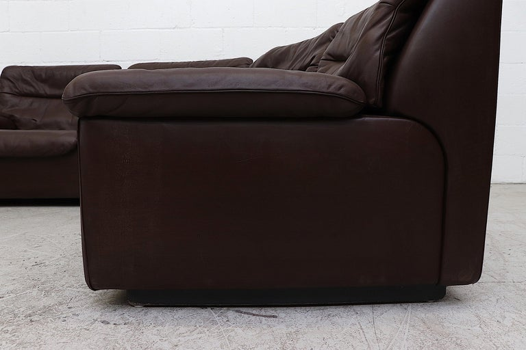 De Sede Chocolate Leather Sectional Sofa In Good Condition For Sale In Los Angeles, CA