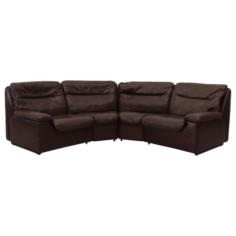De Sede Chocolate Leather Sectional Sofa For Sale