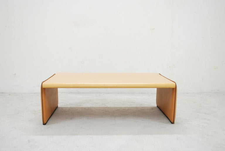 Modern De Sede Coffee Table Cherrywood and Cognac Leather For Sale