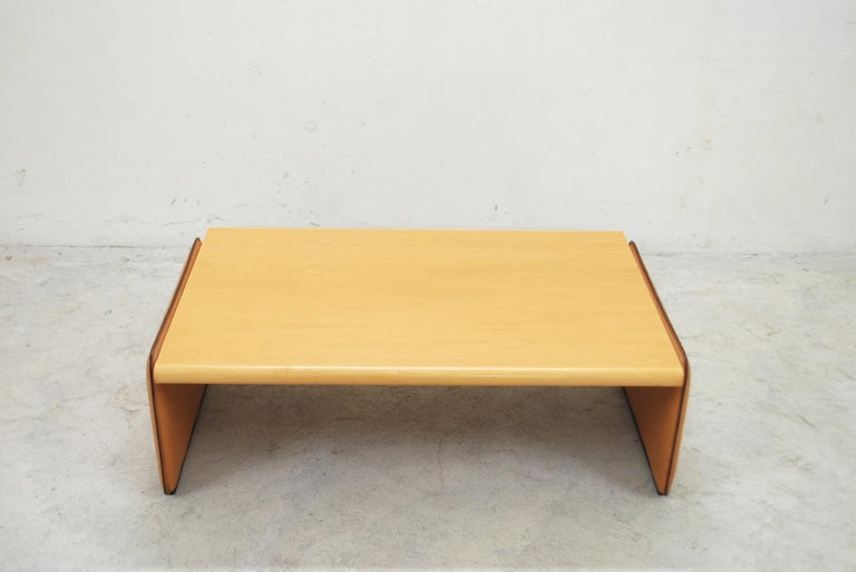 Swiss De Sede Coffee Table Cherrywood and Cognac Leather For Sale