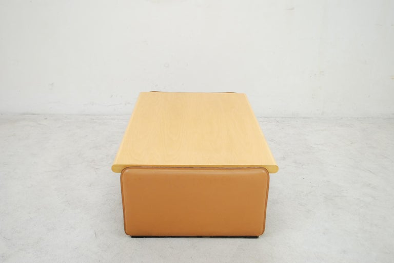 De Sede Coffee Table Cherrywood and Cognac Leather For Sale 1