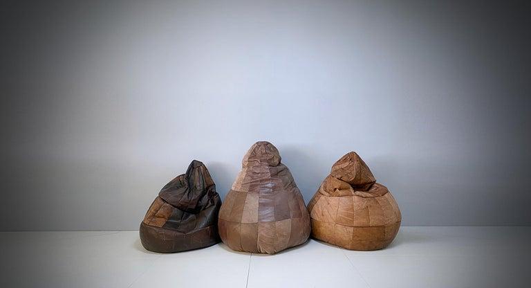 De Sede Cognac Leather Patchwork Bean Bag, Pouf, 1970s, Switzerland 3
