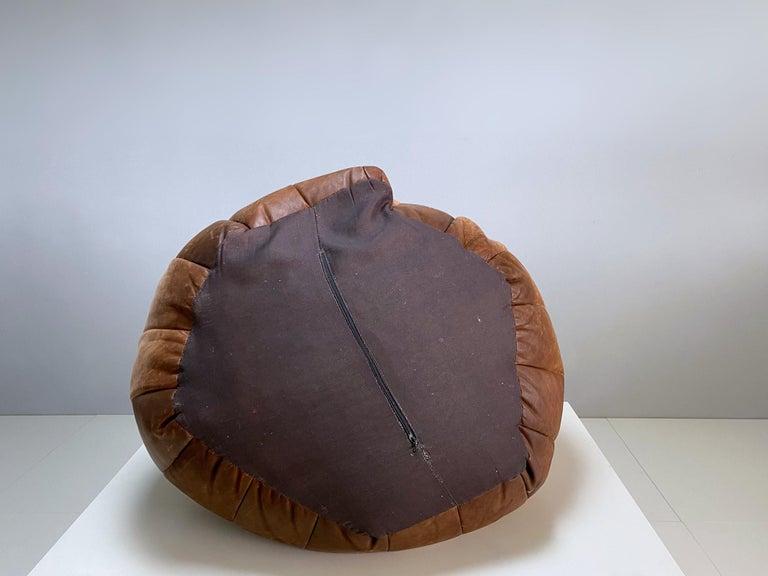 De Sede Cognac Leather Patchwork Bean Bag, Pouf, 1970s, Switzerland 4