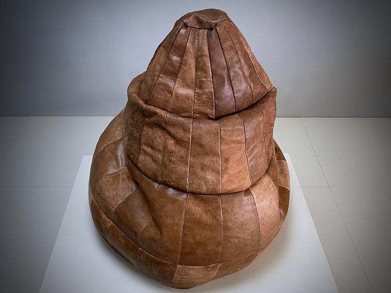 Mid-Century Modern De Sede Cognac Leather Patchwork Bean Bag, Pouf, 1970s, Switzerland