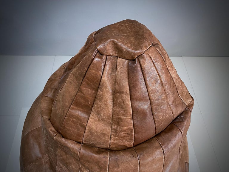 Swiss De Sede Cognac Leather Patchwork Bean Bag, Pouf, 1970s, Switzerland