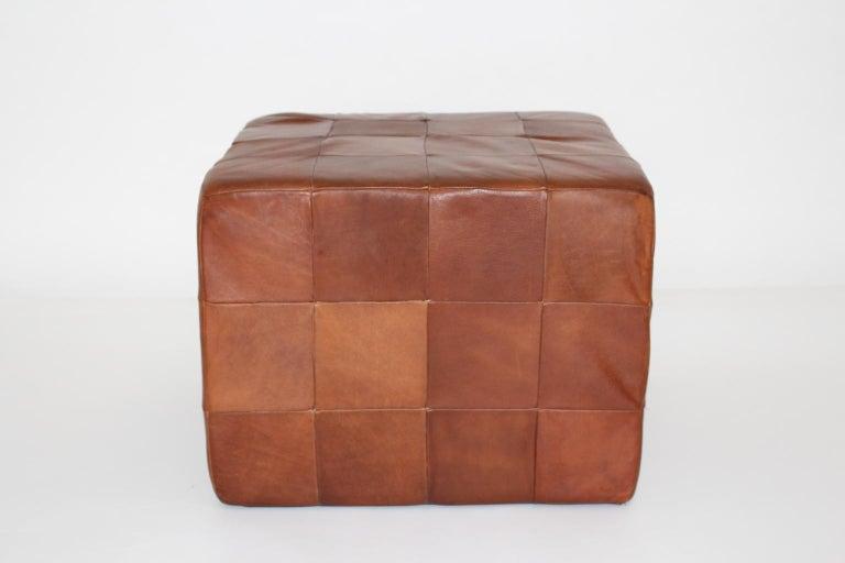 Mid-Century Modern De Sede Vintage Cognac Patchwork Leather Cubus Stool, Switzerland, 1970s For Sale