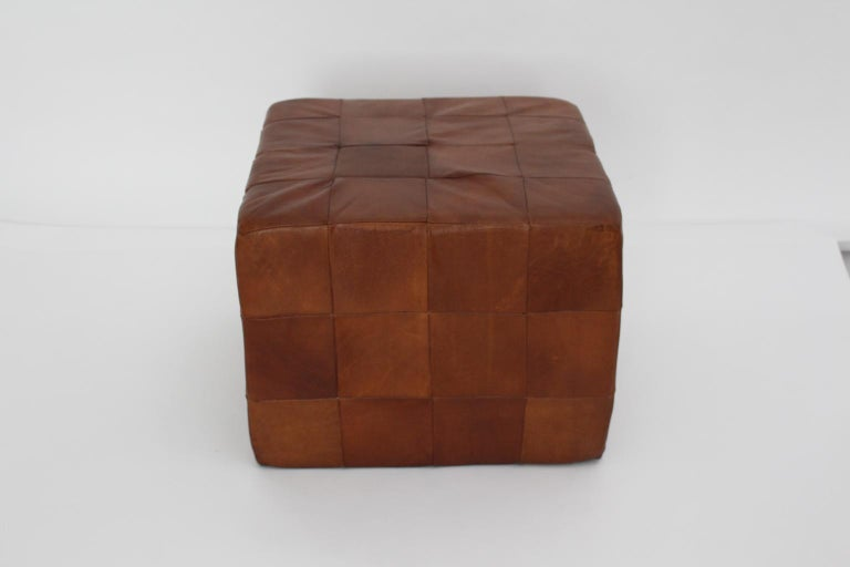 De Sede Vintage Cognac Patchwork Leather Cubus Stool, Switzerland, 1970s In Good Condition For Sale In Vienna, AT