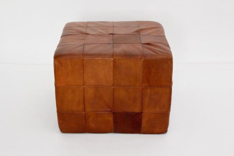 Late 20th Century De Sede Vintage Cognac Patchwork Leather Cubus Stool, Switzerland, 1970s For Sale