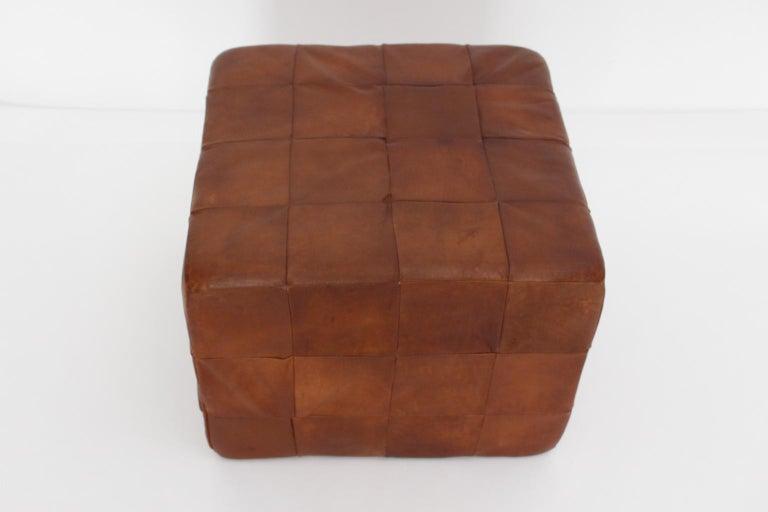 De Sede Vintage Cognac Patchwork Leather Cubus Stool, Switzerland, 1970s For Sale 1