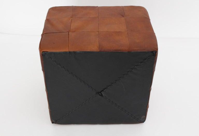 De Sede Vintage Cognac Patchwork Leather Cubus Stool, Switzerland, 1970s For Sale 3